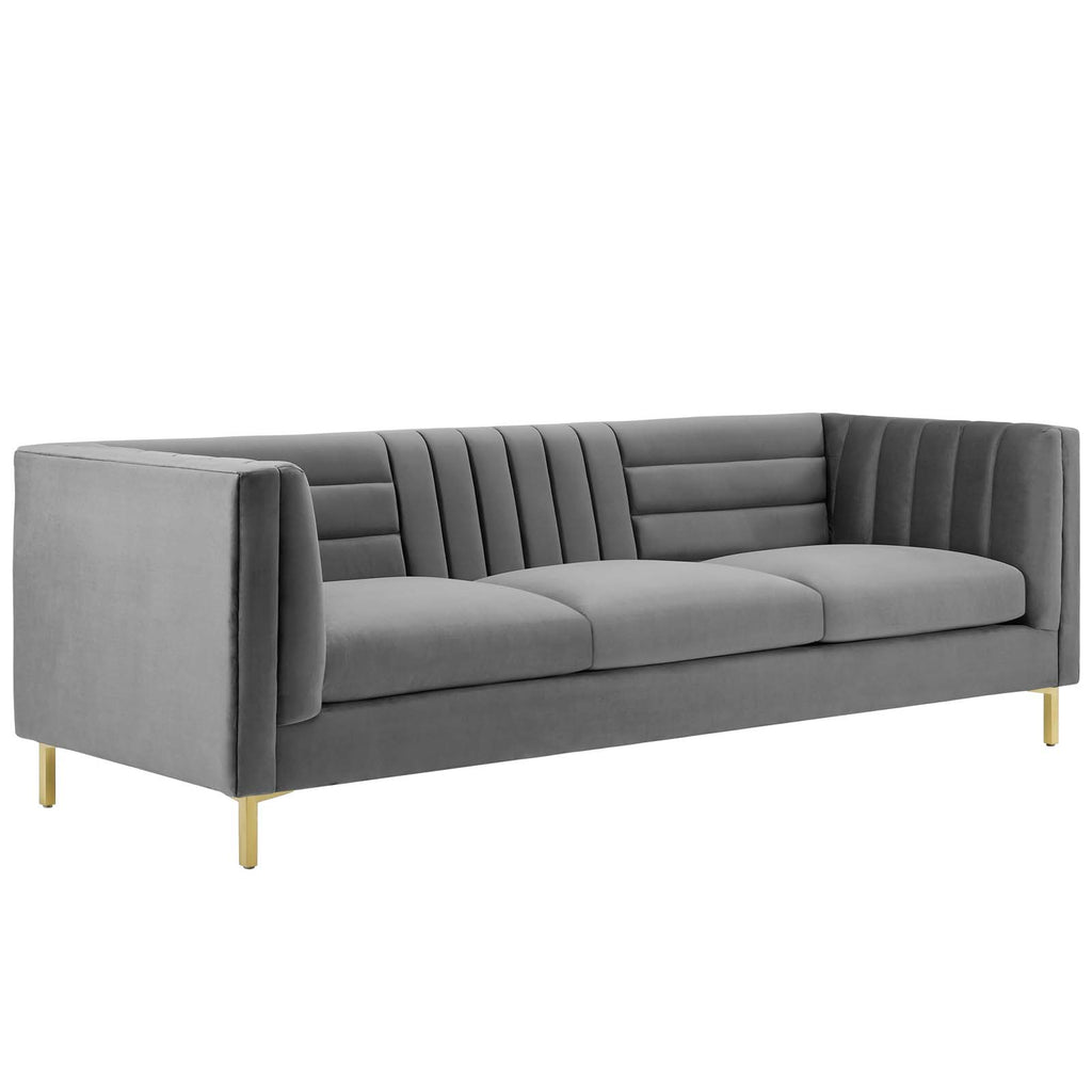 Modway EEI-3454-GRY Ingenuity Channel Tufted Performance Velvet Sofa Gray