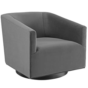 Modway EEI-3456-GRY Twist Accent Lounge Performance Velvet Swivel Chair Gray