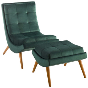 Modway EEI-3487-GRN Ramp Upholstered Performance Velvet Lounge Chair and Ottoman Set Green