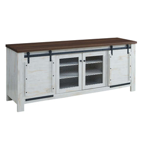 "Modway EEI-3490-WHI Bennington 70"" Rustic Sliding Door Buffet Table Sideboard White"