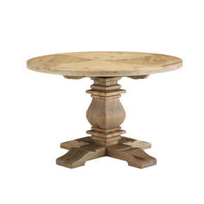 "Modway EEI-3491-BRN Stitch 47"" Round Pine Wood Dining Table Brown"
