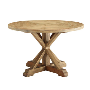 "Modway EEI-3492-BRN Stitch 47"" Round Pine Wood Dining Table Brown"