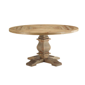 "Modway EEI-3493-BRN Column 59"" Round Pine Wood Dining Table Brown"