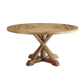 "Modway EEI-3494-BRN Column 59"" Round Pine Wood Dining Table Brown"