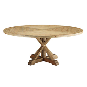 "Modway EEI-3496-BRN Column 71"" Round Pine Wood Dining Table Brown"