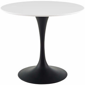 "Modway EEI-3511-BLK-WHI Lippa 36"" Round Wood Dining Table Black White"