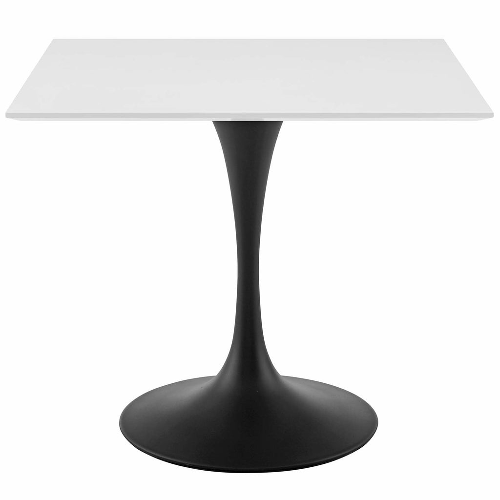 "Modway EEI-3514-BLK-WHI Lippa 36"" Square Wood Top Dining Table Black White"