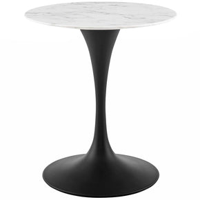 "Modway EEI-3515-BLK-WHI Lippa 28"" Round Artificial Marble Dining Table Black White"