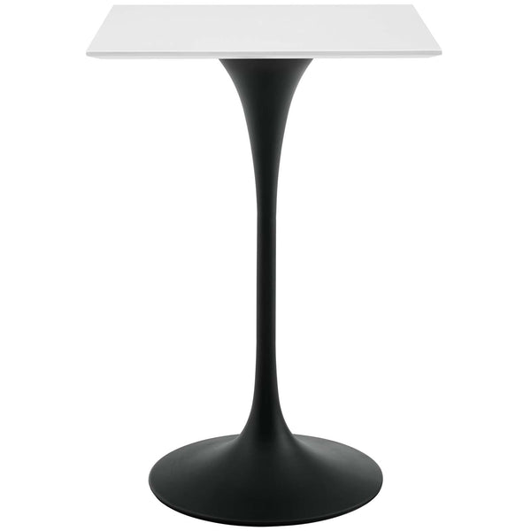 "Modway EEI-3546-BLK-WHI Lippa 28"" Square Wood Top Bar Table Black White"