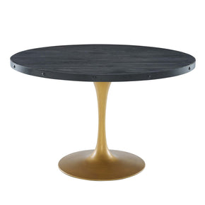 "Modway EEI-3585-BLK-GLD Drive 48"" Round Wood Top Dining Table Black Gold"