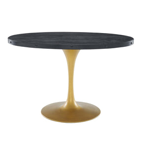 "Modway EEI-3586-BLK-GLD Drive 47"" Oval Wood Top Dining Table Black Gold"