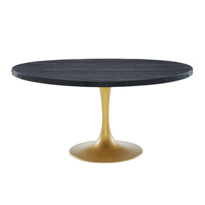 "Modway EEI-3587-BLK-GLD Drive 60"" Round Wood Top Dining Table Black Gold"