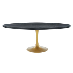 "Modway EEI-3589-BLK-GLD Drive 78"" Oval Wood Top Dining Table Black Gold"