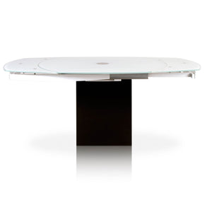 Star International Furniture E.2609XT.BLK/SWHT Era Extension Dining Table Super White Glass, Matte White, Black Granite