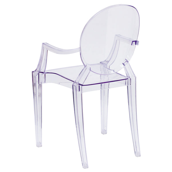 Ghost Chair with Arms in Transparent Clear