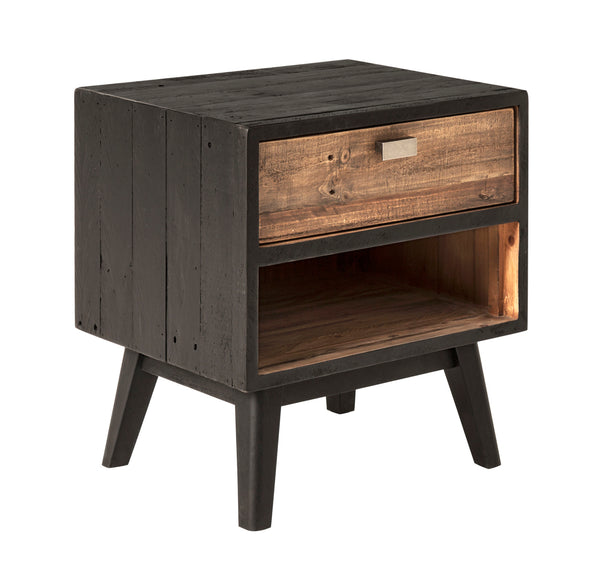 Nova Rustic Side Table Reclaimed Wood Black