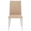 Fulton Dining Chair (Set of 2) Sand Synthetic Leather, Brushed Stainless Steel