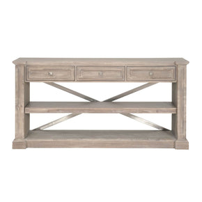Orient Express Furniture 6041.NG Hudson Dining Console Natural Gray, Brushed Stainless Steel | Solid Acacia, Acacia Veneer, Brushed Stainless Steel Knobs