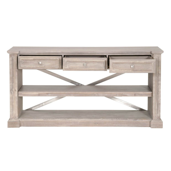 Sideboards - Orient Express Furniture 6041.NG Hudson Dining Console Natural Gray, Brushed Stainless Steel | 842279108717 | Only $1649.00. Buy today at http://www.contemporaryfurniturewarehouse.com