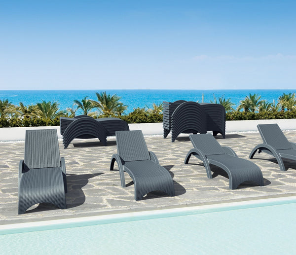 Miami Resin Wickerlook Chaise Lounge Dark Grey (Set of 2)
