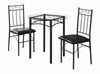 Dining Set - 3Pcs Set / Black Metal / Tempered Glass