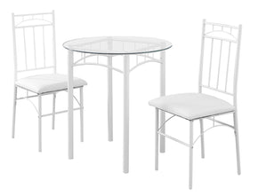 Monarch Specialties I 1001 Dining Set - 3Pcs Set / White Metal / Tempered Glass 680796000455