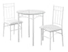 Dining Set - 3Pcs Set / White Metal / Tempered Glass
