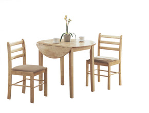 "Dining sets - Monarch Specialties I 1006 Dining Set - 3Pcs Set / Natural With A 36""Dia Drop Leaf 