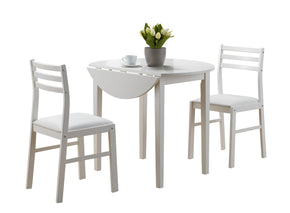 "Dining Sets - Monarch Specialties I 1008 Dining Set - 3Pcs Set / White With A 36""Dia Drop Leaf 