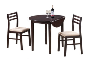 "Monarch Specialties I 1009 Dining Set - 3Pcs Set / 36""Dia / Cappuccino W/ Drop Leaf  021032170868"