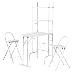 Monarch Specialties I 1010 Dining Set - 3Pcs Set / White Top / White Metal  878218005571