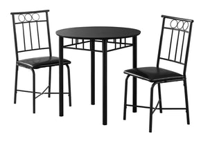 Monarch Specialties I 1013 Dining Set - 3Pcs Set / Black Metal And Top 680796000509