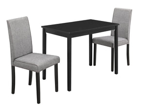 Dining Sets - Monarch Specialties I 1016 Dining Set - 3Pcs Set / Black / Grey Linen Parson Chairs | 680796001278 | Only $234.80. Buy today at http://www.contemporaryfurniturewarehouse.com