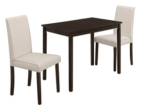 Monarch Specialties I 1017 Dining Set - 3Pcs Set / Cappuccino / Beige Linen Chairs 680796001285