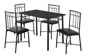Monarch Specialties I 1018 Dining Set - 5Pcs Set / Black Metal And Top 878218005601