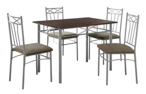 Monarch Specialties I 1020 Dining Set - 5Pcs Set / Cappuccino / Silver Metal  021032245368