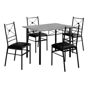 Monarch Specialties I 1021 Dining Set - 5Pcs Set / Grey / Black Metal 680796014926