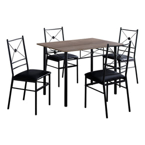 Monarch Specialties I 1022 Dining Set - 5Pcs Set / Dark Taupe / Black Metal 680796014933