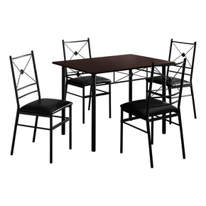 Monarch Specialties I 1023 Dining Set - 5Pcs Set / Cappuccino / Black Metal 680796014940