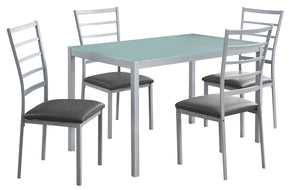 Monarch Specialties I 1026 Dining Set - 5Pcs Set / Silver / Frosted Tempered Glass 680796000462