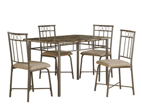 Monarch Specialties I 1029 Dining Set - 5Pcs Set / Cappuccino Marble / Bronze Metal  021032245344