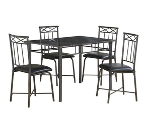 Monarch Specialties I 1036 Dining Set - 5Pcs Set / Grey Marble / Charcoal Metal  021032245351