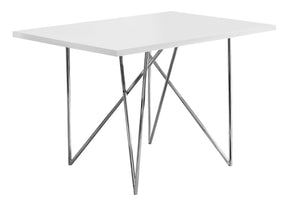 "Monarch Specialties I 1038 Dining Table - 32""X 48"" / White / Chrome Metal 680796000417"