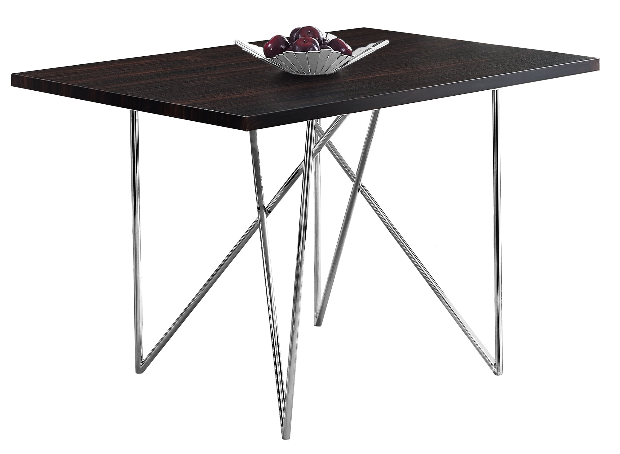 Buy Monarch Specialties I 1039 Dining Table 32 X 48 Cappuccino Chrome Metal At Contemporary Furniture Warehouse