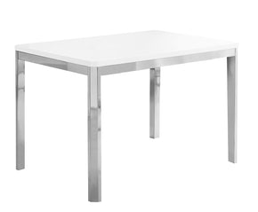 "Monarch Specialties I 1041 Dining Table - 32""X 48"" / White / Chrome Metal 680796000486"