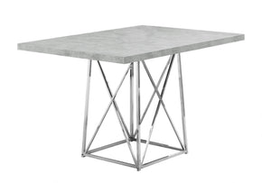"Monarch Specialties I 1043 Dining Table - 36""X 48"" / Grey Cement / Chrome Metal 680796000813"