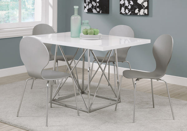 "Dining Table - 36""X 48"" / White Glossy / Chrome Metal"