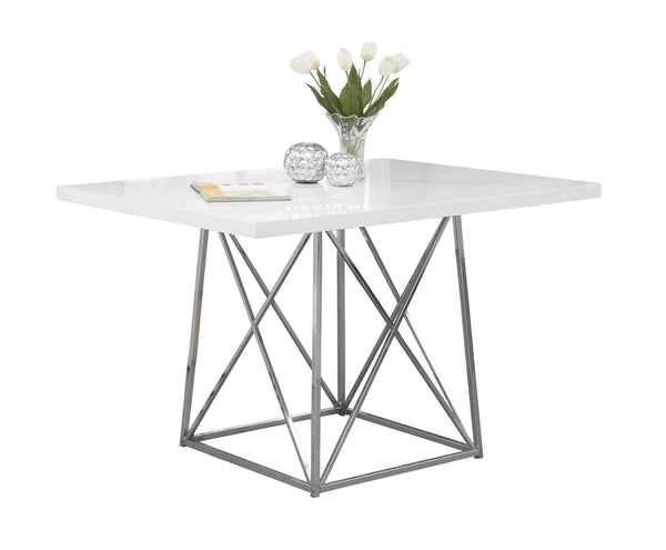"Monarch Specialties I 1046 Dining Table - 36""X 48"" / White Glossy / Chrome Metal  021032281632"
