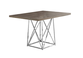 "Monarch Specialties I 1057 Dining Table - 36""X 48"" / Dark Taupe / Chrome Metal 680796001216"