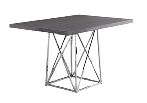 "Monarch Specialties I 1059 Dining Table - 36""X 48"" / Grey / Chrome Metal 680796000387"